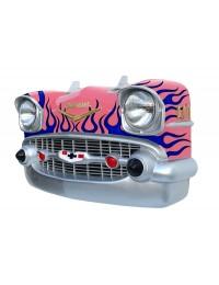 Wanddeko Chevy Rosa Front mit blauen Flammen