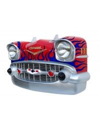 Wanddeko Chevy Rot Front mit blauen Flammen