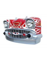 Wanddeko Chevy Rot Front mit weißen Flammen