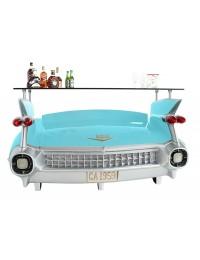 Bar Cadillac Hellblau mit rosa Flammen und Kofferraumschrank