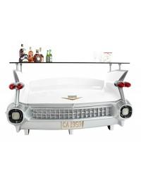 Bar Cadillac Weiß mit blau goldenen Flammen und Kofferraumschran