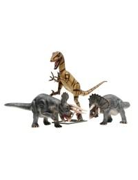 Dinosaurier Velociraptor und 2 Triceratops