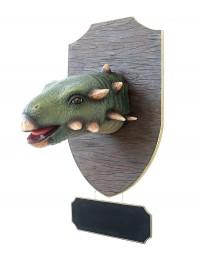 Dinosaurier Gastoniakopf auf Holz mit Angebotsschild