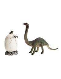 Dinosaurier schlüpft auf Ei mit Brachiosaurus