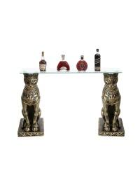 ägyptischer Katzentisch mit Glasplatte