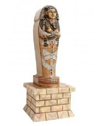 ägyptischer Sarg mit Mumie auf einer Säule