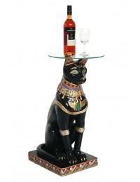 ägyptische Katze Kaffeetisch mit Glasplatte