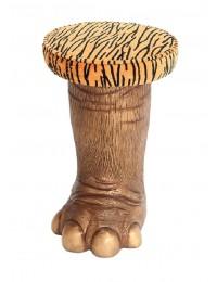 Goldenes Elefantenbein Hocker mit Tigerpolster groß