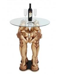 Goldener Preisfigurtisch mit Glasplatte