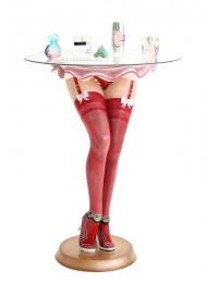 Sexy Frauenbeine mit roten Strümpfen Tisch mit Glasplatte