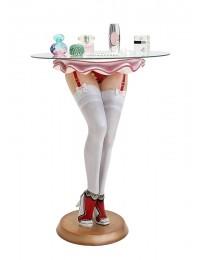 Sexy Frauenbeine mit weißen Strümpfen Tisch mit Glasplatte