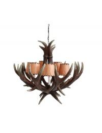 Hirschgeweih Kronleuchter mit 6 Lichtern und Lampenschirmen