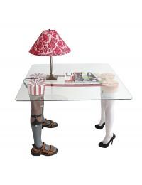 Männer  und Frauenbeine Tisch mit kleiner Glasplatte