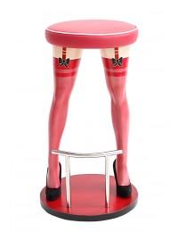 Sexy Frauenbeine mit roten Strümpfen Barhocker mit rotem Polster