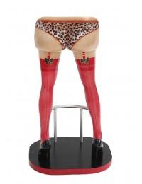 Sexy Frauenbeine Rot mit Leoparden Unterwäsche Barhocker