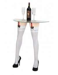 Sexy Frauenbeine mit weißen Strümpfen für Wandtisch