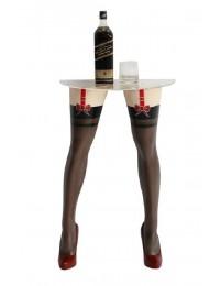 Sexy Frauenbeine mit schwarzen Strümpfen für Wandtisch