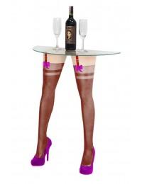 Sexy Frauenbeine mit braunen Strümpfen für Wandtisch