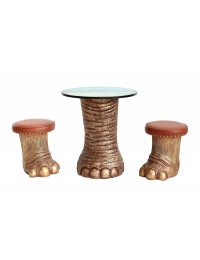 Elefantenbein gold Tisch Dschungel und Hocker mit braunem Polster