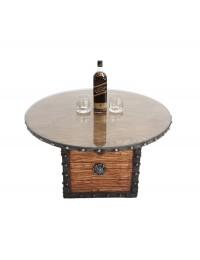 Truhe Tisch mit Holz und Glasplatte