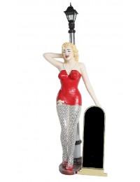 Marilyn rot netz mit Laterne und Angebotstafel