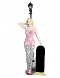 Marilyn rosa netz mit Laterne und Angebotstafel