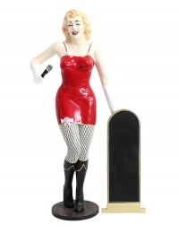 Marilyn rot netz mit Mikrofon und Angebotstafel