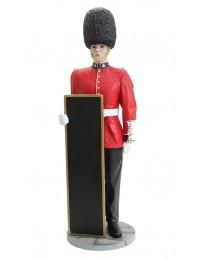 britischer Wächter mit Angebotstafel