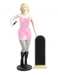 Marilyn rosa netz mit Mikrofon und Angebotstafel