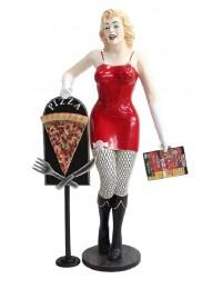 Marilyn rot netz mit Menükarte und PizzaTafel