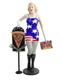 Marilyn amerika mit Menükarte und PizzaTafel