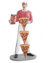 Pizzamann mit Menükarte und Pizzen