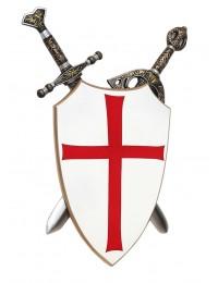 Kreuzritter Schild mit Schwertern dahinter