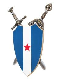 Schild Blau Weiß mit rotem Stern und Schwertern dahinter