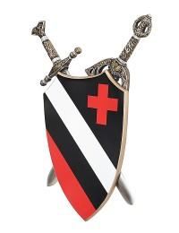 Schild Schwarz Weiß mit rotem Kreuz und Schwertern dahinter