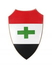 Schild Rot Weiß Schwarz mit grünem Kreuz