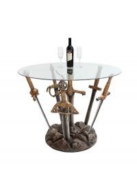 Schwerter Tisch mit Glasplatte