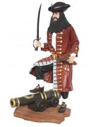 Pirat Blackbeard auf Kanone gold