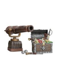 Schatztruhe mit Gold und Kanone
