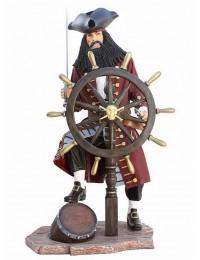 Pirat Blackbeard auf Weinfass mit Steuer