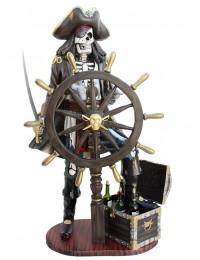 Piratenskelett mit Truhe für Wein und Steuer schwarz