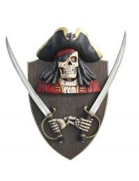 Piratenskelett mit Schwertern Wanddeko