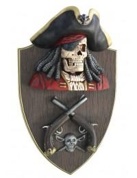 Piratenskelett mit Pistolen Wanddeko