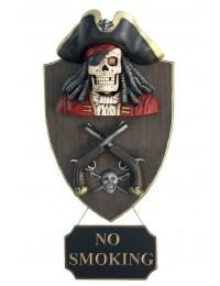 Piratenskelett mit Pistolen Wanddeko mit *No Smoking*Schild