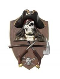 Piratenskelett mit Pistolen und Axt Wanddeko