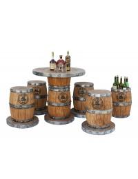 Weinfasstisch, Weinfasshocker und Weinfasshalterung