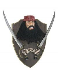 Pirat Blackbeard mit Schwertern Wanddeko