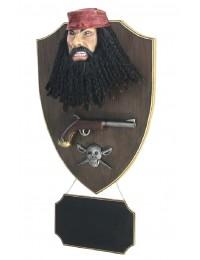 Pirat Blackbeard mit Pistole und Angebotsschild Wanddeko