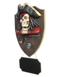 Piratenskelett mit Pistole und Angebotsschild Wanddeko