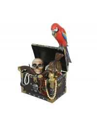 Schatztruhe mit Gold und Papagei